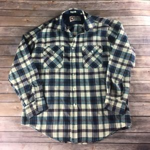 VINTAGE BLUE PLAID BOYFRIEND FLANNEL